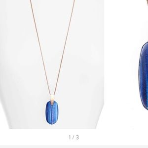 Inez Long Pendant Necklace in Navy Dusted Glass